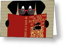 Black Dog Reading Greeting Card by Donna Mibus
