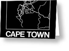 Black Map Of Cape Town Greeting Card