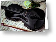 Black Violin On Sheet Music Greeting Card
