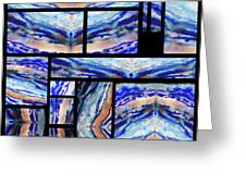Blue Agate Mosaic Watercolor Collage Greeting Card