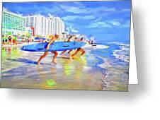 Blue Board Fast Into Ocean Greeting Card