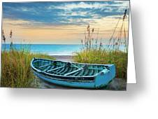 Blue Boat At Dawn Greeting Card