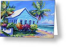 Blue Cottage On The Beach Greeting Card