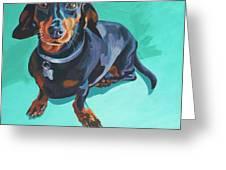 Blue Dachshund  Greeting Card