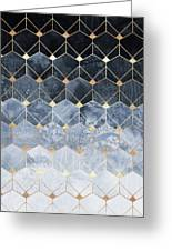 Blue Hexagons And Diamonds Greeting Card