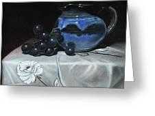 Blue Jar And Dark Purple Grapes Greeting Card