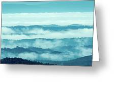Blue Ridge Mountains Layers Upon Layers In Fog Greeting Card