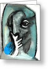 Blue Thinker Greeting Card