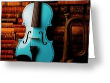 Blue Violin And Old Books Greeting Card