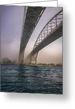 Blue Water Bridge Fog Greeting Card