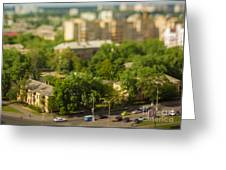 Blurry Tilt-shift Cityscape Background Greeting Card