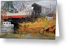 Boat In Drydock Greeting Card