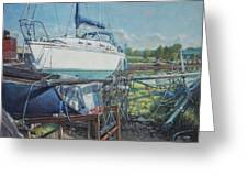 Boat Out Of Water With Dumped Parts At Marina Greeting Card