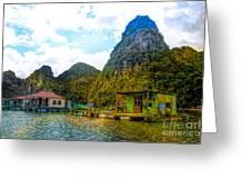 Boat People Homes On Gulf Of Tonkin Ha Long Bay Vietnam Greeting Card