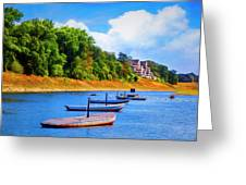 Boats At The Ferry Crossing Painting Greeting Card