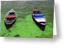 Boats On Algae, In Santarem, Brazil. Greeting Card