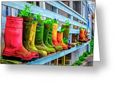 Boots Galore Greeting Card by Debra and Dave Vanderlaan