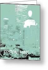 Boston Massachusetts Night Scene Digital Art Greeting Card