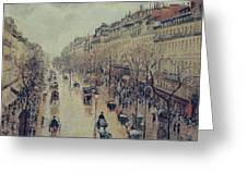Boulevard Montmartre - Afternoon, In The Rain, 1897 Greeting Card