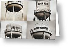 Bourbon Whiskey Water Tower Collage - Matte Sepia 1x1 Greeting Card by Gregory Ballos