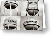 Bourbon Whiskey Water Tower Collage - Sepia 1x1 Greeting Card by Gregory Ballos