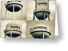 Bourbon Whiskey Water Tower Collage - Vintage Sepia 1x1 Greeting Card by Gregory Ballos