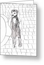 Boy On The Street Pencil Drawing Greeting Card