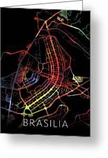 Brasilia Brazil City Street Map Watercolor Dark Mode Greeting Card