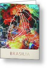 Brasilia Brazil Watercolor City Street Map Greeting Card