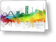Brasilia Skyline Cityscape Brbr07 Greeting Card