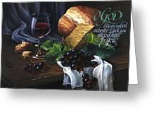 Bread And Wine Greeting Card by Clint Hansen