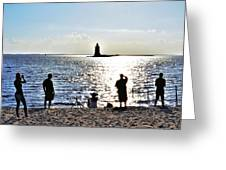 Breakwater East End Beach Scene Greeting Card