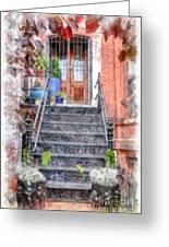 Brick Townhouse Walkup Watercolor Greeting Card