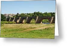 bridge over river Tyne at Corbridge in summer Greeting Card