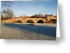 bridge over river Tyne in Haddington in winter Greeting Card