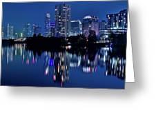 Bright Blue Hour In Austin Greeting Card