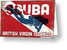 British Virgin Islands Scuba Diver - Blue Retro Greeting Card