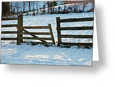 Broken Fence In The Snow At Sunset Greeting Card