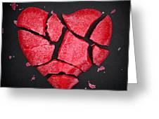 Broken Red Heart Shaped Lollipop Greeting Card