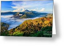 Bromo Volcano At Sunrise,tengger Semeru Greeting Card