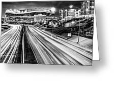 Broncos Stadium At Mile High - Downtown Denver Monochrome Greeting Card by Gregory Ballos