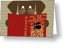 Brown Dog Reading Greeting Card by Donna Mibus