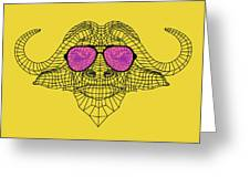 Buffalo In Pink Glasses Greeting Card