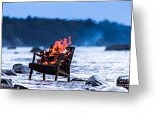 Burning Old Armchair On The Seashore Greeting Card