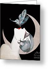 Butterfly Kiss French Art Deco Flapper Woman Greeting Card