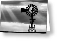 Bw Windmill And Crepuscular Rays -01 Greeting Card by Rob Graham