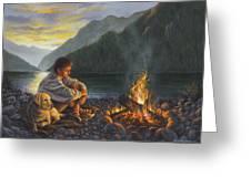 Campfire Companions Greeting Card by Kim Lockman