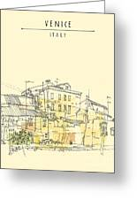 Canal Bank In Venice, Italy. Vertical Greeting Card