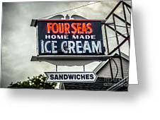 Cape Cod Four Seas Home Made Ice Cream Neon Sign Greeting Card