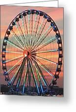 Capital Wheel Shining At Sunset  Greeting Card